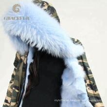 Chaqueta parka cuello de piel de invierno especial con forro de piel
