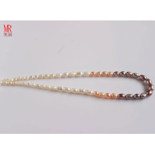 5-6-7mm Mixed Color Rice Real Pearl Necklace (ES131-3)