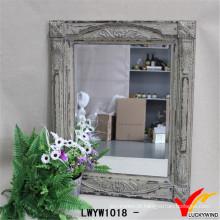 Shabby Chic Carving espelho de parede de madeira rústica