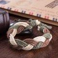 Venta caliente de moda Vintage Cowmade pulsera verde y Brown pulsera hecha a mano