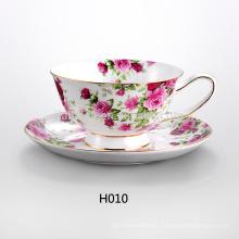 Flor de diseño personalizado de porcelana té tazas y platillos