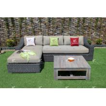 Diseño escandinavo sofá de mimbre de roma sofá de muebles en forma de l