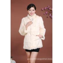 2016 Women's Winter Wear Middle Long Fur Coat for Girls Overcoat