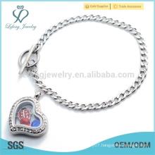 Lovely ladies design chain bracelet, low price heart style jewelry locket bracelet