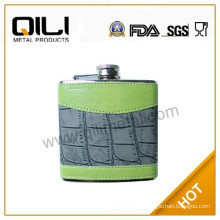 9oz leather wrapped stainless steel hip flask