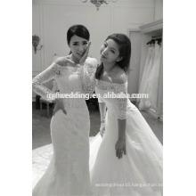 New Alibaba China Off the Shoulder Muslim Wear Gowns Design Vestidos Long Sleeve Appliqued Lace Mermaid Wedding Dress6261B