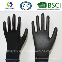 13G Black Polyester with Gary PU Coating Safety Gloves (SL-PU207)