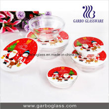 Bol de noix de verre 5PCS avec couverture de décalque de Noël
