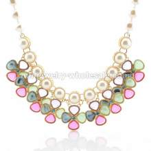 Bowl Inlay Fake Pearl Chain Windmill Shape Cute Charms Necklace