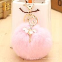 Diamants Decoration Dancer Girl Attaché Rabbit Fur Ball Cute Key Chain Keyring