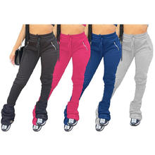 C7109 Thick Stacked Sweat Pants Plus Size Women Winter Fall Clothes  Stacked Fleece Sweatpants Leggings