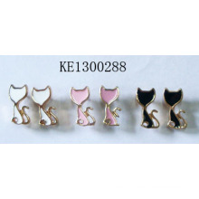 Colourful Cute Little Cat Set Earrings with Metal