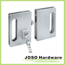 Brush Satin Frameless Glass Door Lock for Double Doors (GDL001B)