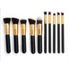 Ensemble de pinceaux de maquillage pour équipement de beauté 10 pièces en cheveux synthétiques, métal, bois