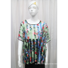 Lady Fashion Flower Printed Polyester Knitted Hollow T-Shirt (YKY2207)