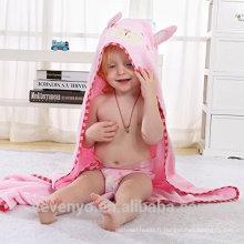 Serviette de bain bébé, 100% coton doux lapin bébé à capuche serviette bambou bébé à capuchon serviette de bain pur lapin rose visage animal
