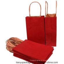 Bolsa de papel de color rojo por encargo con mango torcido