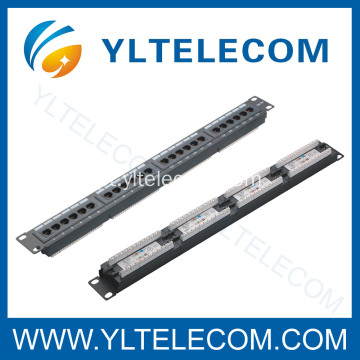 1U 19 polegadas 24port(4*6) tipo Patch Panel Cat. 5E e Cat. 6