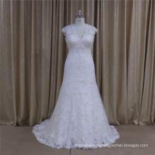 5665 Высокое Качество Полный Кружева Без Рукавов Элегантный Свадебное Платье 2016