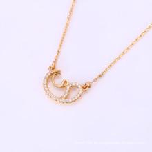 Moda elegante CZ Crystal Rose color oro joyería colgante collar -41820