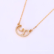 Fashion Elegant CZ Crystal Rose Gold Color Jewelry Pendant Necklace -41820