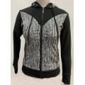 Damen Strick Hoodie mit Animal Print Activewear Jacke