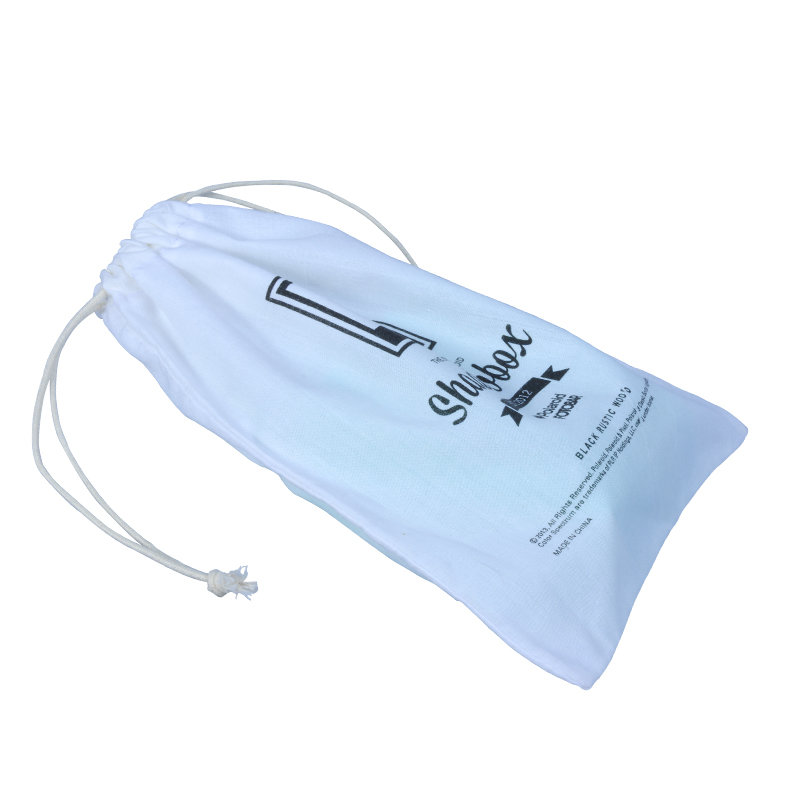 white cotton pouch with logo cotton rope