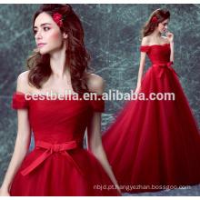 Cestbella TS1132 Vestidos de noite elegantes vintage com mangas de boné Vestido de vestidos vermelhos com renda vermelha Vestido formal formal 2017
