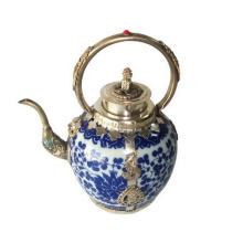 Porcelain Teapot Silver Handle