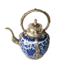 Porcelain Teapot Silver Handle