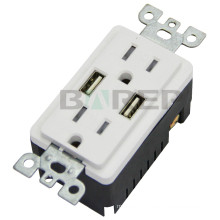 TR-BAS15-2USB Wide ranged usa with usb port vertical power socket