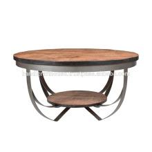 Mesa de café industrial de madera y metal