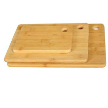 Rectangular bamboo cutting board set with hanging hole