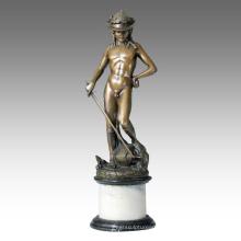 Classical Figure Statue Young David Bronze Sculpture TPE-107