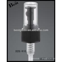 Pompes de pression noires en plastique de 28mm avec le chapeau clair, déclencheurs cosmétiques de pulvérisateur de bouteilles, pulvérisateur de pompe de parfum