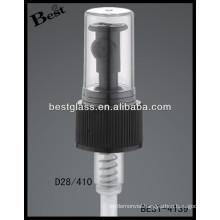 28mm plastic black pressure pumps with clear cap, cosmetic bottles sprayer triggers, perfume pump sprayer