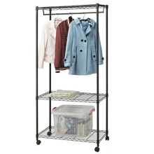 Black Eppoxy Metal Wire Closet Organizer Rack with Wheels