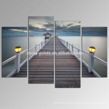 Puente en la impresión de las imágenes del mar / la decoración de la pared de las ilustraciones de la lona del paisaje marino / la pintura pacífica de la lona del océano