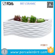 Récipient de fleur de conception moderne en forme de feuille de céramique blanche