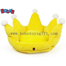 Gelbe Farbe Plüsch König Crown Style Haustierbett Welpen Hund Sofa Bosw1096 / 47X32m