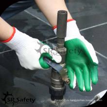 SRSAFETY 10G Трикотажные термостойкие зеленые резиновые перчатки
