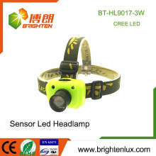 Factory Wholesale ABS et Aluminium 3 Mode Light XPE R3 3W LED Capteur High Power Zoom Cree Headlamp avec batterie 3 * aaa