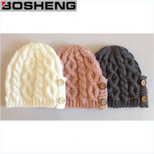 Escribir / gris / rosa invierno botón de decoración Beanie Knit Cap