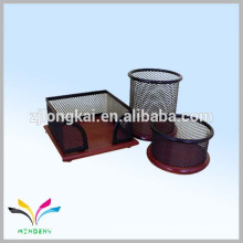 China metal mesh material office desk organizer with wooden base