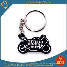 Die Casting Werbeartikel Motorrad Form 3 D PVC Schlüsselanhänger in schwarz mit hoher Qualität