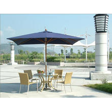 Classic Square Delux Sunshine hide Wooden Patio Umbrella