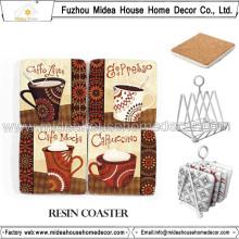 Tapete bonito do copo de café da cortiça, copos de café da qualidade de Haigh ajustados