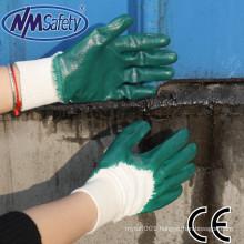 NMSAFETY interlock liner oil-resistant working gloves nbr green nitrile 3/4 coated light duty work gloves