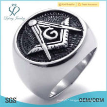 Wholesale Stainless Steel Silver Round Masonic Mens Ring