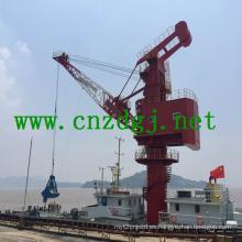 Flotante de trabajo grúa con gancho agarrador para el manejo de materiales a granel